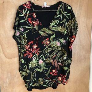 Philosphy Black Floral Blouse Size S